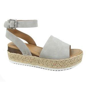 SODA Topic Flatform Sandals Espadrille Gray Grey